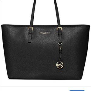 Michael Kors black leather medium travel tote